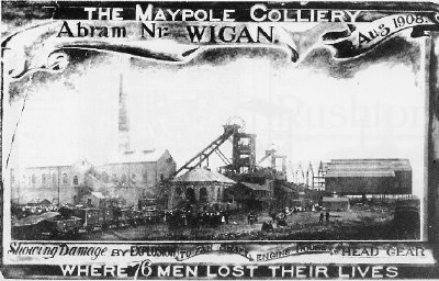 Commemorative postcard of the Maypole Colliery disaster