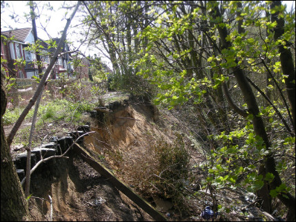 The Cliff landslip - note the precarious position of the houses
